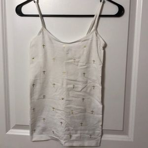 Super scretchy white cami with gold crosses
